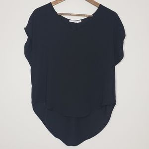 Black XS chiffon short sleeve blouse v-neck